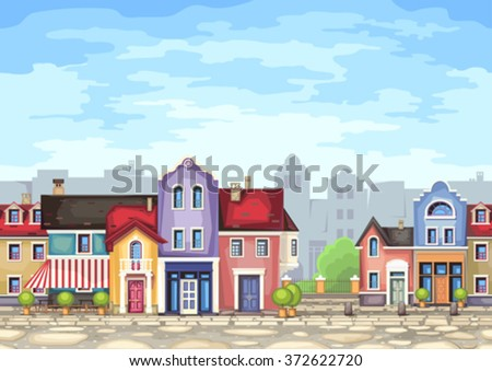 Small town street with coffee shop.Vector illustration of stylized colorfull city landscape.Old town . - stock vector