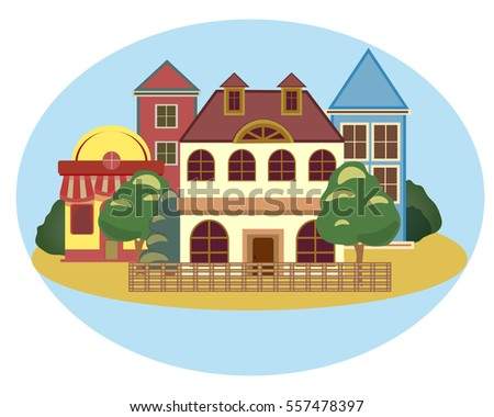 Small town urban landscape in flat design style, vector illustration. Set of buildings, trees, candy shop, bakery, coffee shop