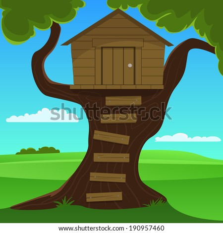 Small Tree House - stock vector