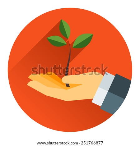 Small tree in a hand modern concept vector flat style