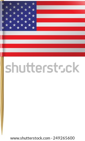 Small United States Flag on a toothpick. - stock vector