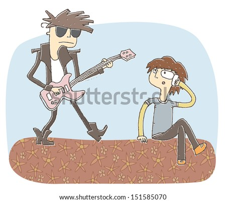 Small vignette illustration of loud guitarist. Illustration is in eps10 vector mode, elements are isolated in a group. - stock vector