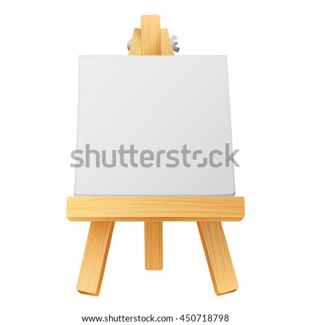 small wooden artist easel with empty canvas