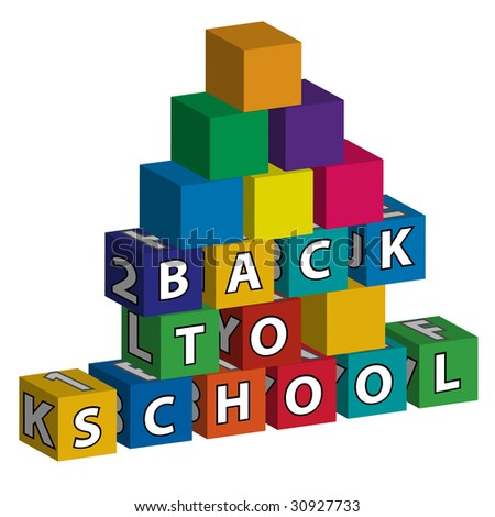 """Smaller school with colored roof made of toy blocks with the inscription """"Back to school"""" - stock vector"""