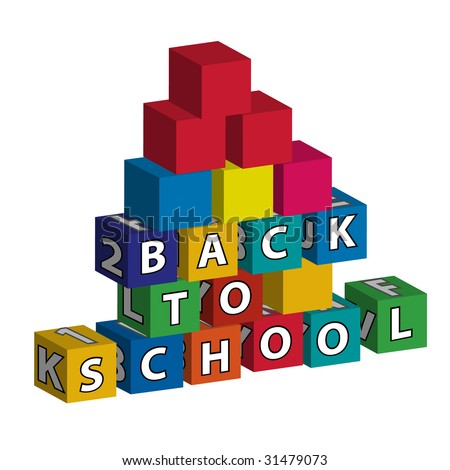 Smaller school with red roof built of toy blocks with the inscription - stock vector