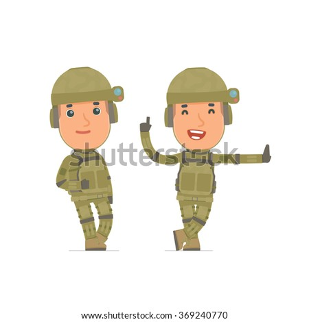 Smart and Funny Character Soldier leaned against the wall and shares information. for use in presentations, etc.