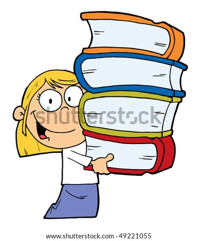 Smart Blond Caucasian School Girl Carrying A Stack Of Books - stock vector