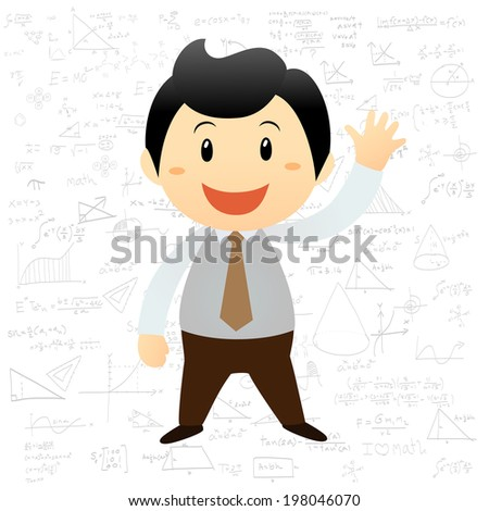 Smart boy cartoon background with math and science formulas - stock vector