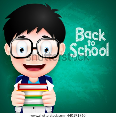 Smart Boy Character Wearing Eyeglasses and Backpack Holding Books. Vector Illustration  - stock vector