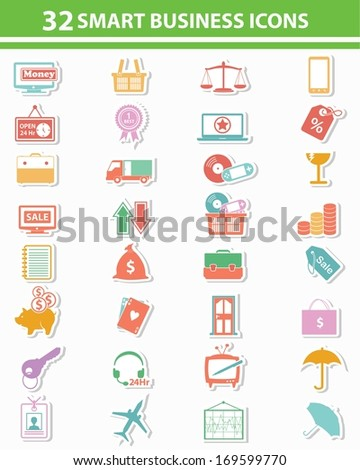 Smart business & marketing icons,Colorful version vector - stock vector