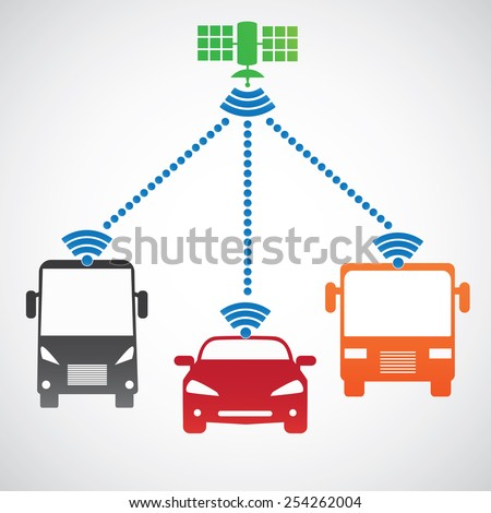 Smart car system with wireless connectivity satellite Connected Car.  Front view. - stock vector
