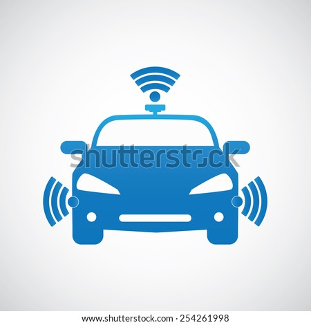 Smart car system with wireless connectivity symbol Connected Car.  Front view. - stock vector