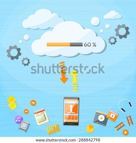 Smart Cell Phone Cloud Upload Online Internet Data Download Information Storage Flat Vector Illustration - stock vector
