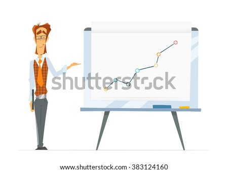 Smart cheerful happy smile office man and big flip-chart paper board whiteboard with chart graph. Isolated on white background.