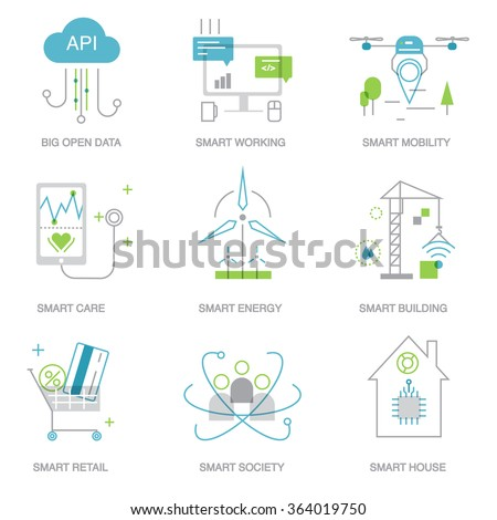 Green home and technologies. Smart city and internet of things line icons.  Future technology symbols for banner, template