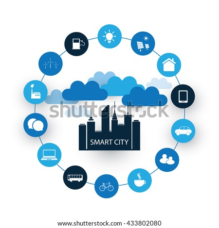 Smart City Design Concept with Icons  - stock vector