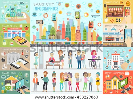 Smart City Infographic set with people and other elements. Vector illustration. - stock vector