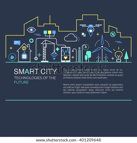 Smart city vector concept. Modern minimal linear design. Illustration of innovations and Internet of things. Green home and technologies. - stock vector