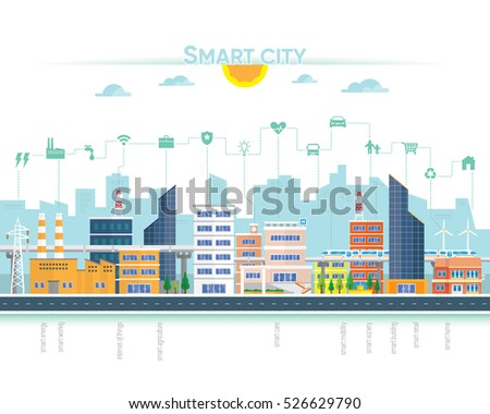 smart city with building and icon