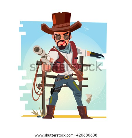 Smart cowboy holding his gun and aiming the guns. character design - vector illustration - stock vector