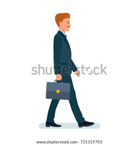 Smart creative man cartoon character. Man, businessman, in business suit, with briefcase in hand, no rush, goes home from work. Side view. Vector illustration.