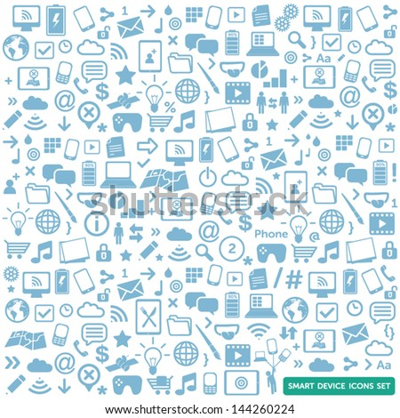 smart device icons set - modern, new technology, multimedia, smart devices elements - stock vector