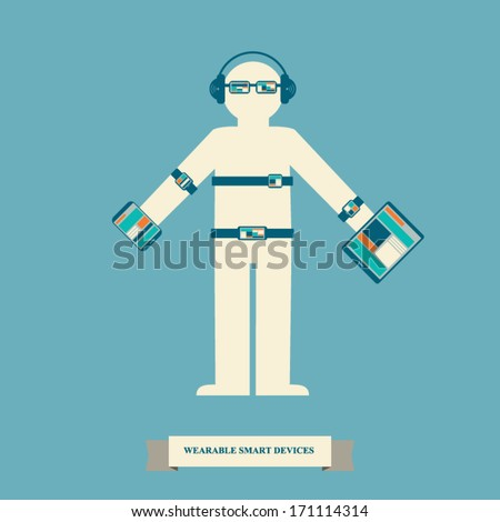 Smart devices infographics with trendy wearable smart electronics. Eps10 vector illustration. - stock vector