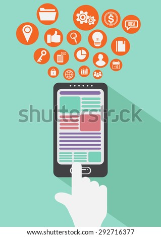smart devices. mobile and flat icons. design element. vector illustration