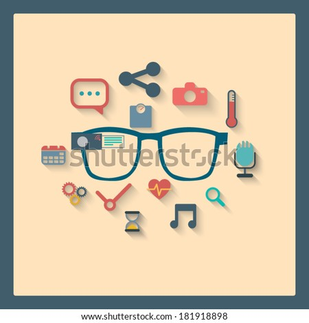 Smart glasses icons for infographics or advertisement. Eps10 vector illustration - stock vector
