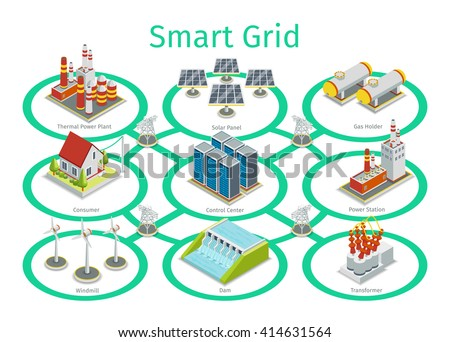 Smart grid diagram. Communication, technology town, electric, energy. Vector illustration - stock vector