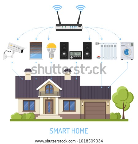 Smart House Internet Things Concept Smartphone Stock Vector