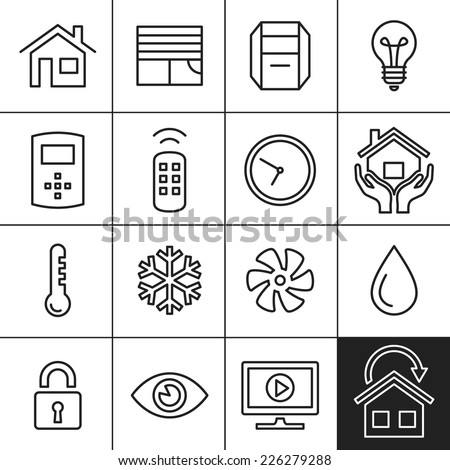 Smart Home and Smart House Icons. Home automation control systems. Simplines series vector icons - stock vector