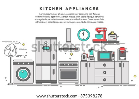 Smart home appliances, future digital technology in everyday life, internet of things for consumer electronic, refrigerator, kitchen furniture, washing, interior. - stock vector