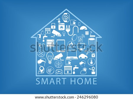 Smart home automation as vector illustration showing various devices like smart phones, sensors, smart thermostats, appliances within a simplified home icon - stock vector