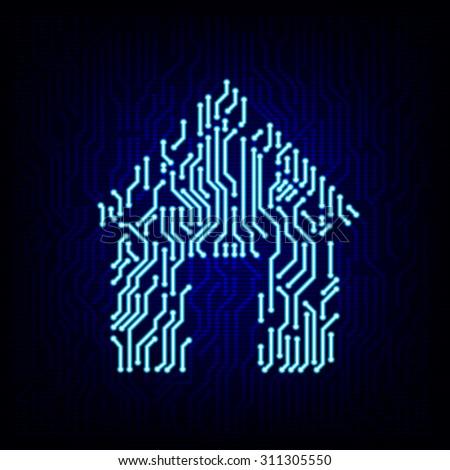 Security Concept Circuit Board Key Logo Stock Vector
