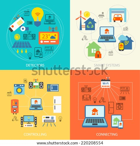 Smart home detectors controlling connecting systems icons flat set isolated vector illustration - stock vector