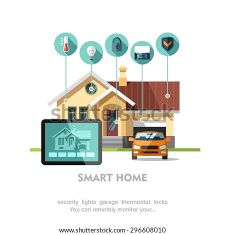 smart home flat design style vector illustration concept of smart house technology system with centralized. beautiful ideas. Home Design Ideas