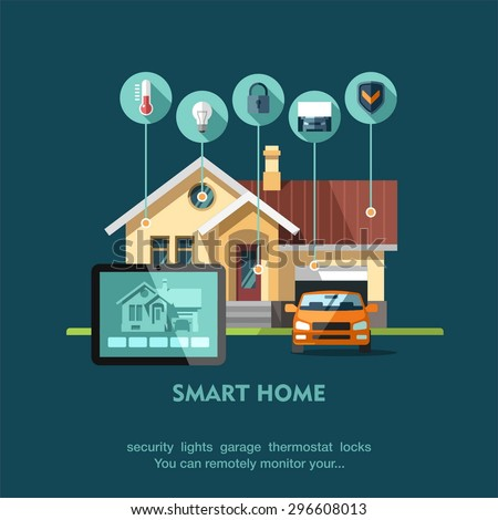 Smart Home Flat Design Style Vector Stock Vector 296608013