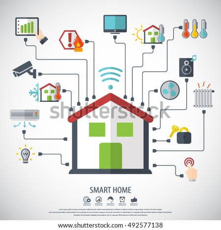 smart home flat design style vector illustration concept of smart house technology system with centralized - Smart Home Designs