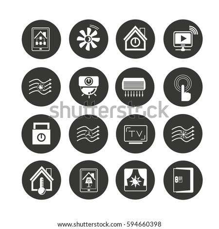 smart home icons set stock vector 262824539 shutterstock. Black Bedroom Furniture Sets. Home Design Ideas