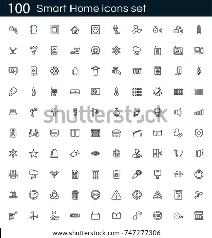 smart home icon set 100 vector 747277306 shutterstock. Black Bedroom Furniture Sets. Home Design Ideas