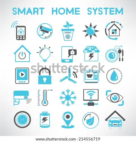 Smart Home Icons Set Home Automation Stock Vector