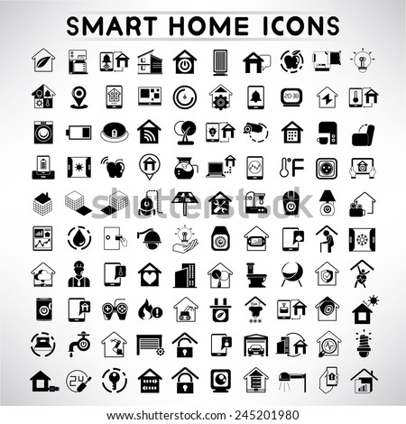 smart home icons set, home automation system icons - stock vector