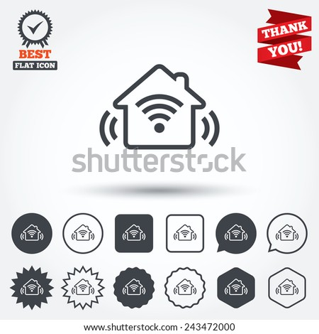 Smart home sign icon. Smart house button. Remote control. Circle, star, speech bubble and square buttons. Award medal with check mark. Thank you ribbon. Vector
