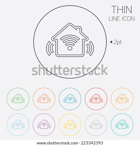 Smart home sign icon. Smart house button. Remote control. Thin line circle web icons with outline. Vector