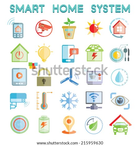 smart home system icons, home automation icons set - stock vector