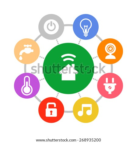 Smart Home System Icons Set Flat Design Style. Vector - stock vector