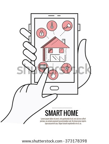 smart home technology system with centralized control of lighting, heating, ventilation and air conditioning, security and video surveillance.  thin line flat design. vector illustration - stock vector