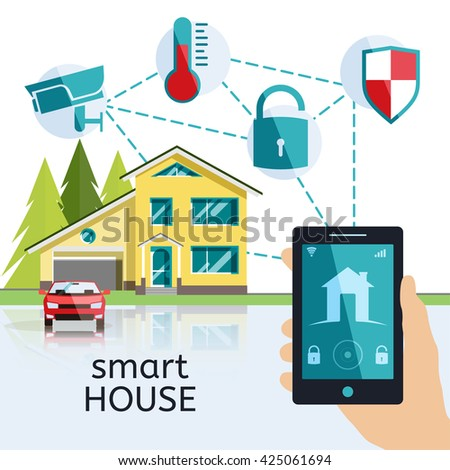 Set flat vector houses on white stock vector 436562269 for Smart home architectures