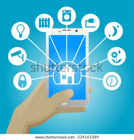Smart Home. Vector illustration of control home options on smart phone